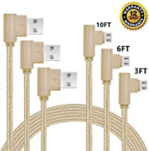 SUMOON Micro USB Cable, 3FT+6FT+10FT 90 Degree Right Angle Nylon Braid Micro USB Charging Cable Android Charger Cord for Samsung Galaxy S7/S6/S5,HTC,LG, Tablet and More (3FT+6FT+10FT Gold)