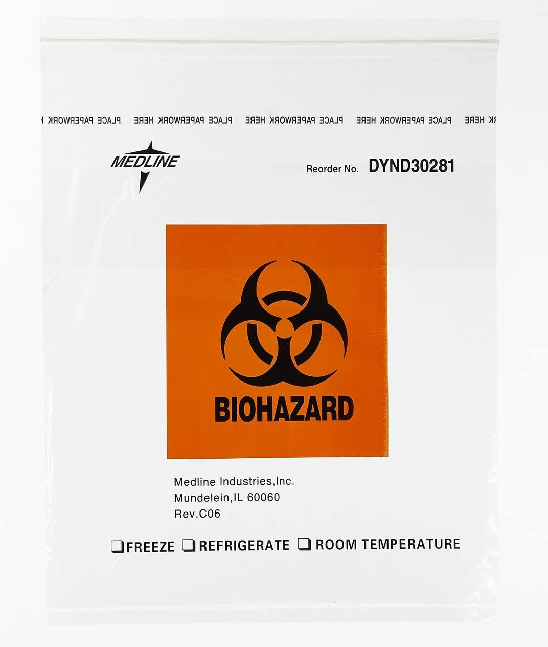 Limited time trial price Medline DYND30281 Zip-Style Biohazard Year-end annual account Bags La Specimen Plastic