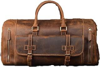 Crazy Horse Genuine Leather Travel Bag Men Vintage Travel Duffel Big Cow Leather Carry On Luggage Shoulder Bag brown1(52cm)