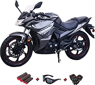 Lifan KPR 200(2018) 200cc Adult Gas Motorcycle Moped Scooter with Gloves, Sunglasses and Handgrip (Black/Sliver)