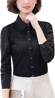 DkaoE Women Chiffon Classic Lace Button Down Shirt Long Sleeve Blouse with Stretch