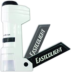IDS Home Eastcolight 36147 50X Pocket Microscope for Kids, Handheld Science Education Toy, Mini Portable Magnifier