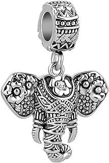 Q&Locket Vintage Elephant Charm Dangle Animal Charms Beads for Bracelets
