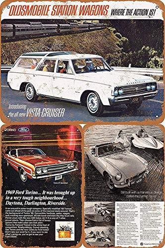 Promini Letrero de metal retro de estaño con patrones de coches vintage para decoración de pared para niños, hombres (3 piezas) 8 pulgadas x 12 pulgadas