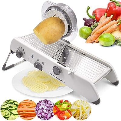 18 Types Adjustable Mandoline Slicer Stainless Steel Manual Cutter Vegetable Grater Julienne Slicer Fruit Waffle White