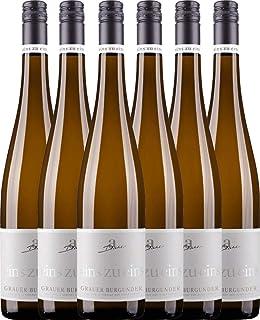 VINELLO 6er Weinpaket Weißwein - Grauer Burgunder eins zu eins Kabinett 2020 - A. Diehl mit einem VINELLO.weinausgießer   veganer Weißwein   deutscher Sommerwein aus der Pfalz   6 x 0,75 Liter