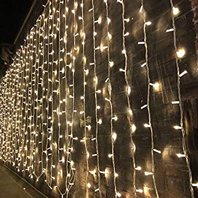 Magictec 300 LED Curtain String Light, 8 Lighting Modes Fairy Twinkle String Lights Wedding Party Home Garden Bedroom Outdoor Indoor Wall Decorations, Warm White