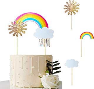 Jshend Colorful Rainbow Cake Topper Rainbow Birthday Cake Topper Party Supplies Wedding Cake Flags Cupcake Picks Set for Rainbow Theme Party Baby Shower Wedding (JS159)