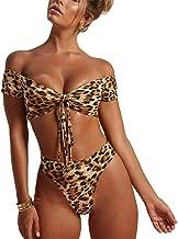 Susupeng Women Off The Shoulder Leopard Print Beach Bathing Suit Bandeau Straps Lace Up High Waist 2 Piece Bikini Set