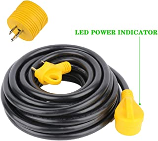 SCITOO 30Foot 30AMP RV Extension Cord Power Supply Cable for Trailer Motorhome Camper