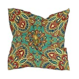 QMIN - Pañuelo cuadrado de seda indio, diseño de mandala floral de moda, pañuelo ligero para el cabello, pañuelos para el cuello, 60 x 60 cm