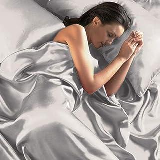 Beamfeature Parure en satin pour lit King size avec housse de couette et drap-housse (Argent)
