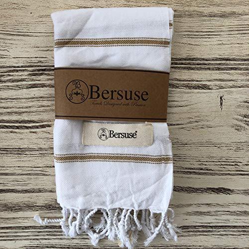 Bersuse 100% Katoen - Anatolia Turkse Handdoek - Hoofd Haar Gezicht Baby - Keuken- en Badhanddoeken - OEKO-TEX - 60 x 110 cm, Wit goud