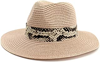 LIWENCUI Summer Panama Hat Hollow Out Straw Hat for Men Women Leather Ribbon Large Brim Sun Beach Hat Jazz Cap (Color : Pink, Size : 56-58CM)