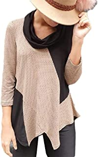Zimaes Womens Hit Color Blouse Long-Sleeve Polka Dot Print High Low T-Shirt