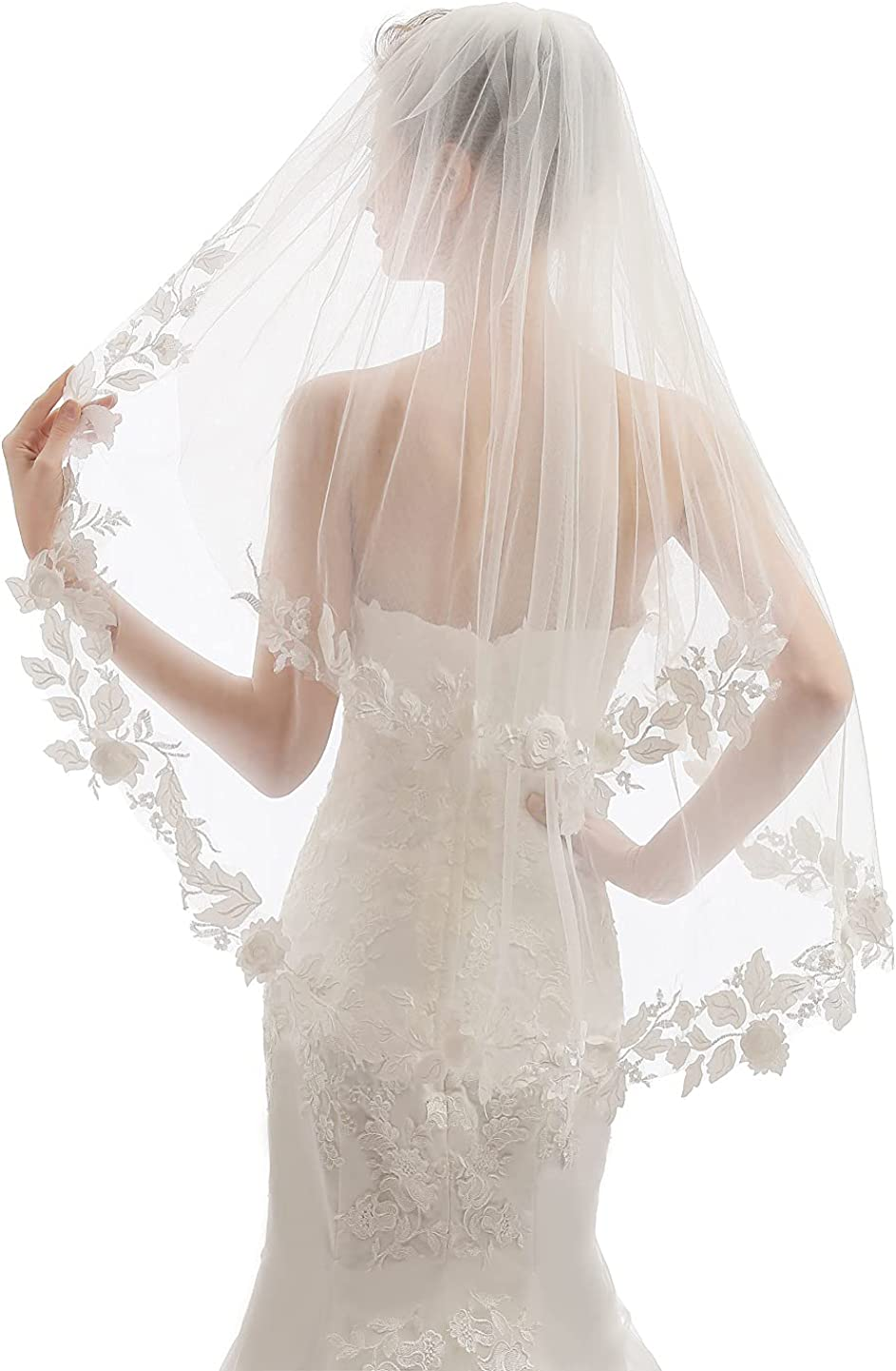 EllieHouse 2 Tier Fingertip Length Short Wedding Bridal Veil With Comb X05