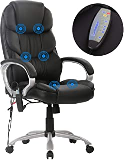 High Back Office Chair Ergonomic Massage Chair Desk PU Leather Computer Chair Task Rolling Swivel Adjustable Stool Executive Chair with Lumbar Support Armrest for Women&Men
