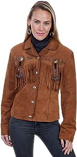 Women's Suede Leather Fringe Jacket Plus - L152-27-Plus