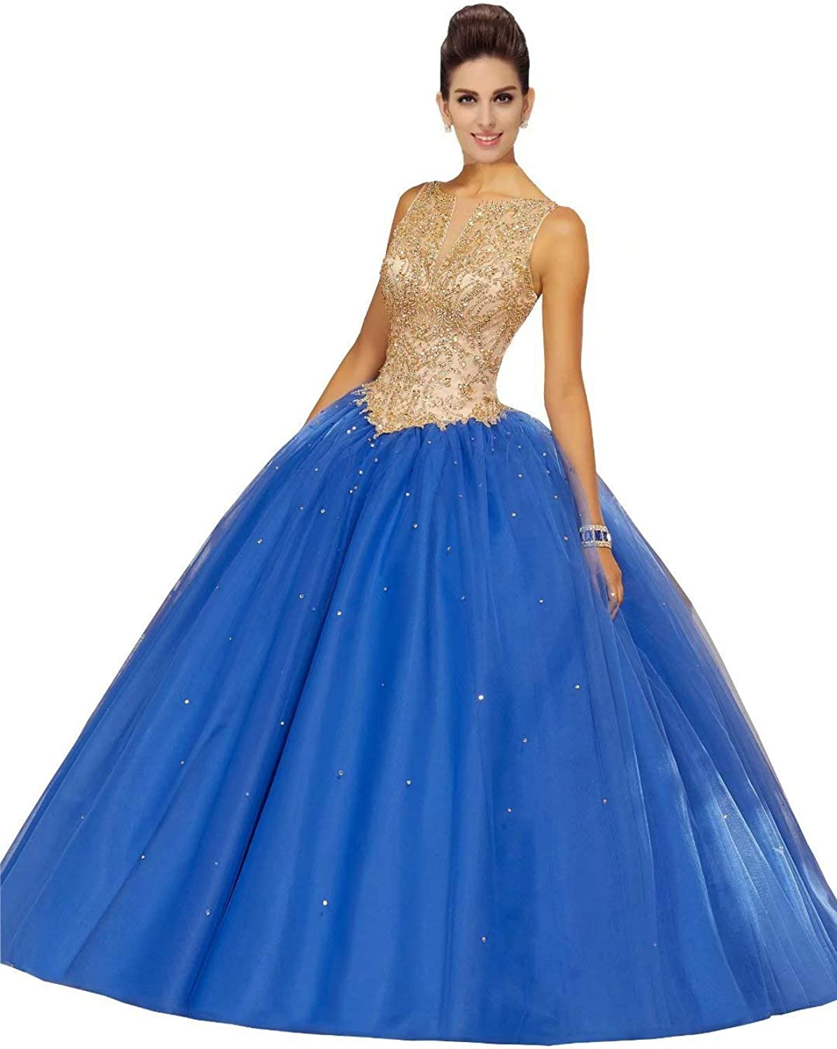 Fannydress gold Beading Crystal Princess Prom Dresses Ball Gowns Bateau Laceup Draped Quinceanera Dress 2019