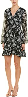 1.STATE Women's Long Sleeve Wrap Front Forest Delicate Dress