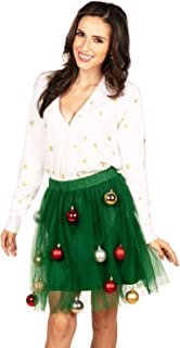 Tipsy Elves' Women's White and Green Tree Skirt Dress - Classic Holiday Outfit with Ornaments