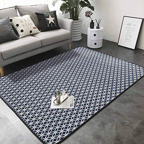 Polyester Non-Slip Doormat Rugs Colorful Marine Rope in Geometric Pattern Design Ocean Travel Cruise Mosaic Ornament 48'x 60' Rugs for Kitchen Floor