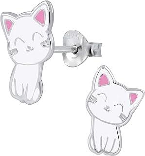 Ohrstecker Schwarze Katze echt SterlingSilber 925 Damen Kinder Ohrringe Kätzchen