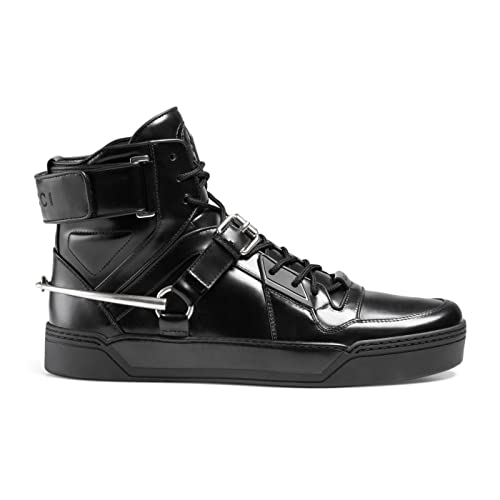 77083c059 Gucci Men's Black Shiny Leather GG Horsebit High Top Sneakers Shoes