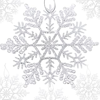 BANBERRY DESIGNS Large White Snowflake Ornaments - Set of 8 Assorted Sized Glittered Snowflakes with Strings Attached- Hanging Glitter Snow Flakes