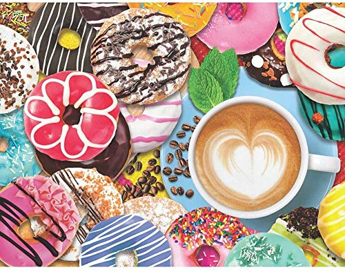 WMYZSHDWZ 1000 Piece Picture Puzzle Donuts and Coffee Puzzles Assembling Toys for Adults and Children Educational Games Toys Can Improve Children's Hands-On Ability