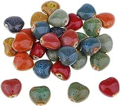 30 Pieces 15mm Heart Bead Flower Glaze Charm Ceramic Beads Porcelain Bead DIY Handmade Braided Bracelet Material Vintage Fashion Jewelry Findings