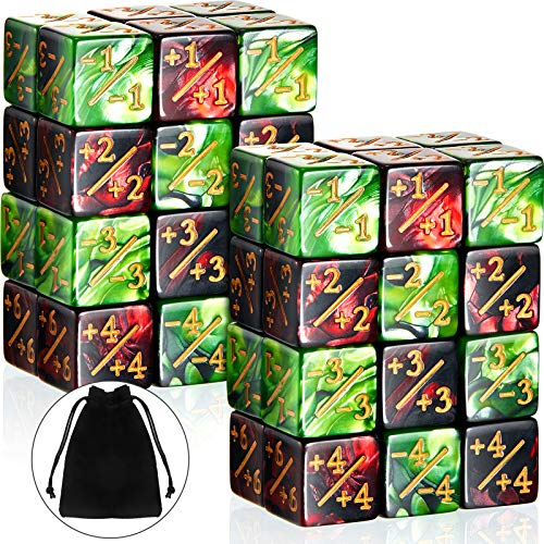 48 Pieces Dice Counters Token Dice D6 Dice Cube Loyalty Counter Dice Compatible with MTG, CCG, Card Gaming Accessory, 2 Styles