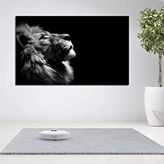 ZJMI Noir Et Blanc Grand Format Impression De Toile Lion Poster Wall Photos Salon De Peinture Décoration Moderne Pas De Ca...