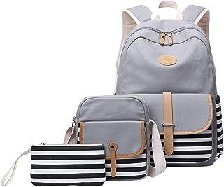 Litthing Mädchen Schulrucksack Umhängetasche und Geldbeutel 3 Tasche Set Große Kapazität Segeltuch Schultasche für Schule Outdoor Camping AusflugGrau