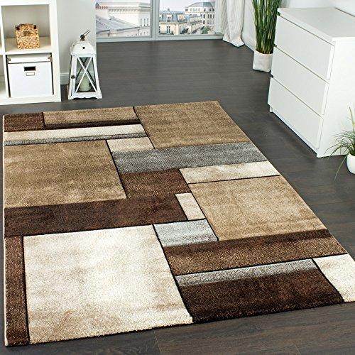 Paco Home Designer Teppich Kariert Modern Trendig Meliert Eyecatcher in Beige Braun Grau, Grösse:160x230 cm