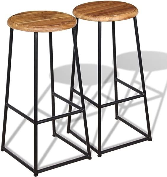 Festnight 一套 2 个酒吧凳子圆形无靠背工业酒吧凳,带脚踏板实心柚木座椅,带铁腿酒吧椅子厨房餐厅咖啡厅小酒馆家具 13 8X30 Diam X H