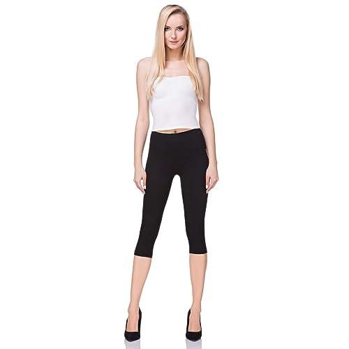 a615aa19f7cde8 FUTURO FASHION 3/4 Leggings Cropped Cotton Extra Comfort Range, Plus Sizes