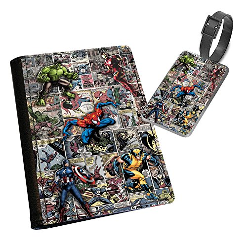 Superheroes Passport Cover and Luggage Tag Gift Set