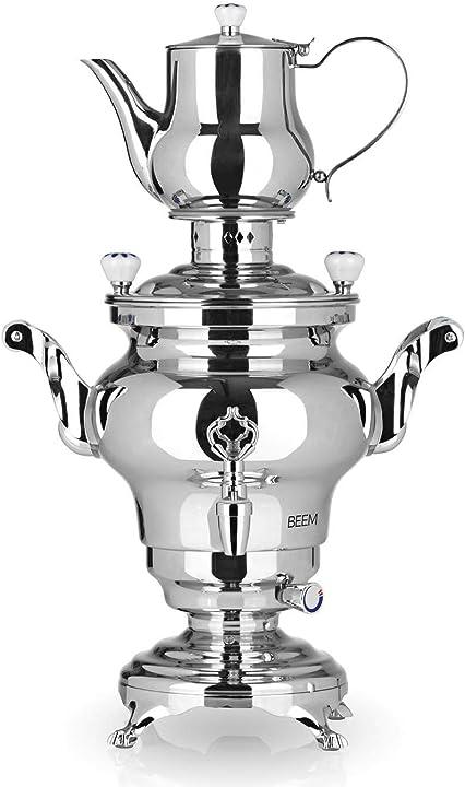 Tea maker elettrico 1.800 w | acciaio inox, contenitore per acqua da 3 litri, teiera da 1 litro beem samowar K 1300 240