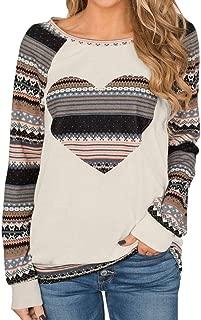 〓COOlCCI〓Women's Fashion Sweatshirts,Women Long Sleeve Round Neck Floral Heart Print Patchwork Tunic Sweatshirt Tops