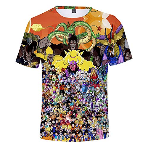 Nicoole Camiseta Dragon Ball Z 3D Camiseta De Verano para Hombre Camiseta Divertida De Goku Camiseta De Dragon Ball De Anime Camiseta Estampada De Dibujos Animados De Verano,L