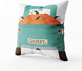 Fullentiart Pillow Covers, Pumpkin Truck FallAutumn Cushion Soft Skin-Friendly Fade Wrinkle Resistant and Easy to wash 16X16inches