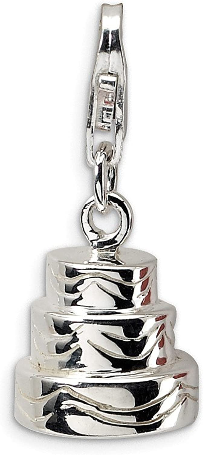 FB Jewels Solid Sterling Silver 3D Wedding Cake W Lobster Clasp Charm