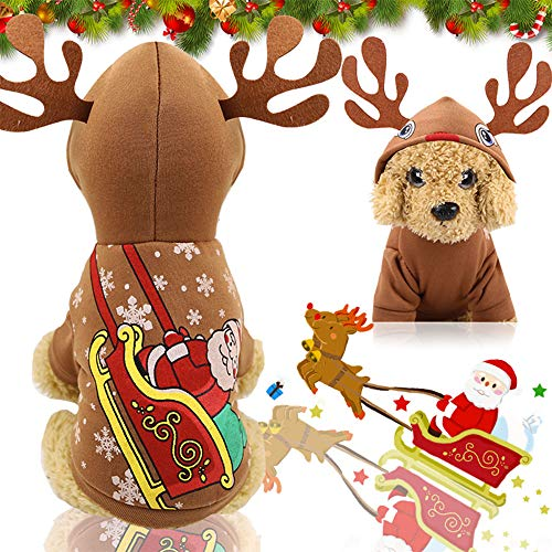 RC GearPro Costumi di Natale per Cani, Renna di Natale, Cappotto per Cosplay di Animali Domestici, Vestiti per Cappotti in Felpa con Cappuccio in Pile per Cuccioli (XXL)
