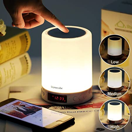 Homecube Touch Bedside Lamp, Bluetooth Speaker with Light, Music, Clock, Alarm and Radio All-in-one, Best Birthday Christmas Valentine Gifts for Men,Women,Boys,Girls,Teenage,Kids