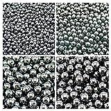 Cuentas de cristal checo prensado redondas, 3 mm, 4 mm, 6 mm, 8 mm, hematita Jet Hematita en total, 275 cuentas, set 1CRP 404 (3RP008 4RP043 6RP1036 8RP011)