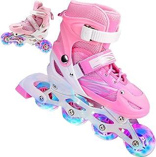 LMOfficeHub Children's Skating Set LED Inline Skates 2 in 1 Roller Skates 4 Size Adjustable Roller Skates Adjustable Inlin...