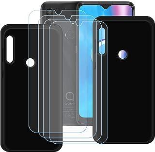 TTJ [2 stycken svart fodral till Alcatel 1SE 2020 [4 styck] HD pansarglas, mobiltelefonfodral silikon skyddande fodral TPU...