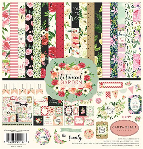 Carta Bella Paper Company Botanical Garden Collection Kit de papel, rosa, verde, negro, rojo, crema