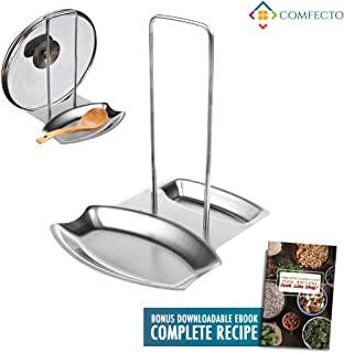 Comfecto Stainless Steel Spoon Rest Pot Lid Holder for Stove Top, Kitchen Decor and Accessories for Spatula Ladle Pan Cover Utensil, Food Recipe Ebook Included, Grey